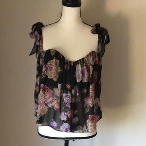 Cotton Candy New Black Purple Floral Crop Top
